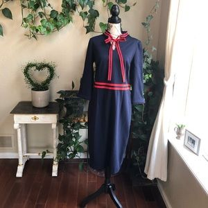 Boden Blue and Red Fitted Dress